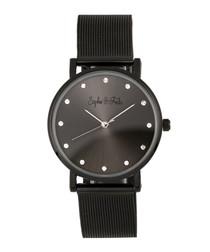 Savannah black crystal mesh watch