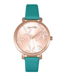Key West rose gold-tone & teal watch