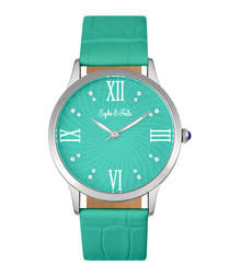 Sonoma silver-tone & teal watch