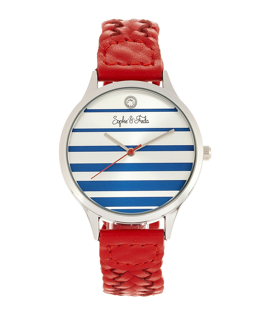 Tucson silver-tone & red braid watch Sale - sophie & freda