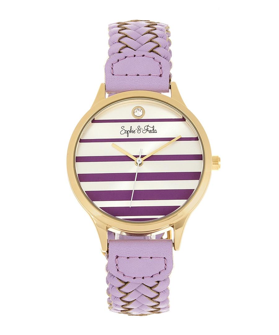 Tucson gold-tone & lavender braid watch Sale - sophie & freda