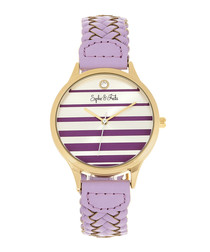 Tucson gold-tone & lavender braid watch