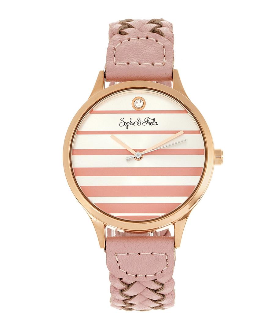 Tucson rose gold-tone & pink braid watch Sale - sophie & freda