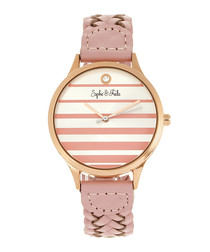 Tucson rose gold-tone & pink braid watch