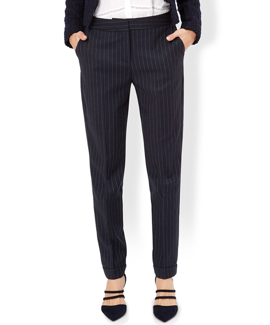 Charlie navy wool blend striped trousers Sale - monsoon