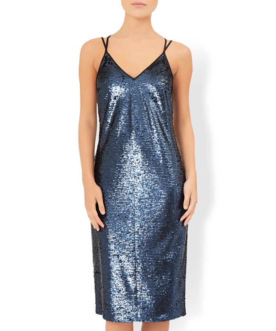 Salina blue sequin midi dress Sale - monsoon