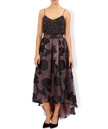 Lin black floral drop hem maxi skirt