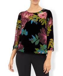 Mable black floral 3/4 sleeve top
