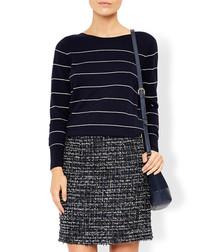Bryony navy wool blend tweed skirt