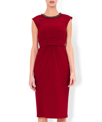 Serena red cap sleeve midi dress