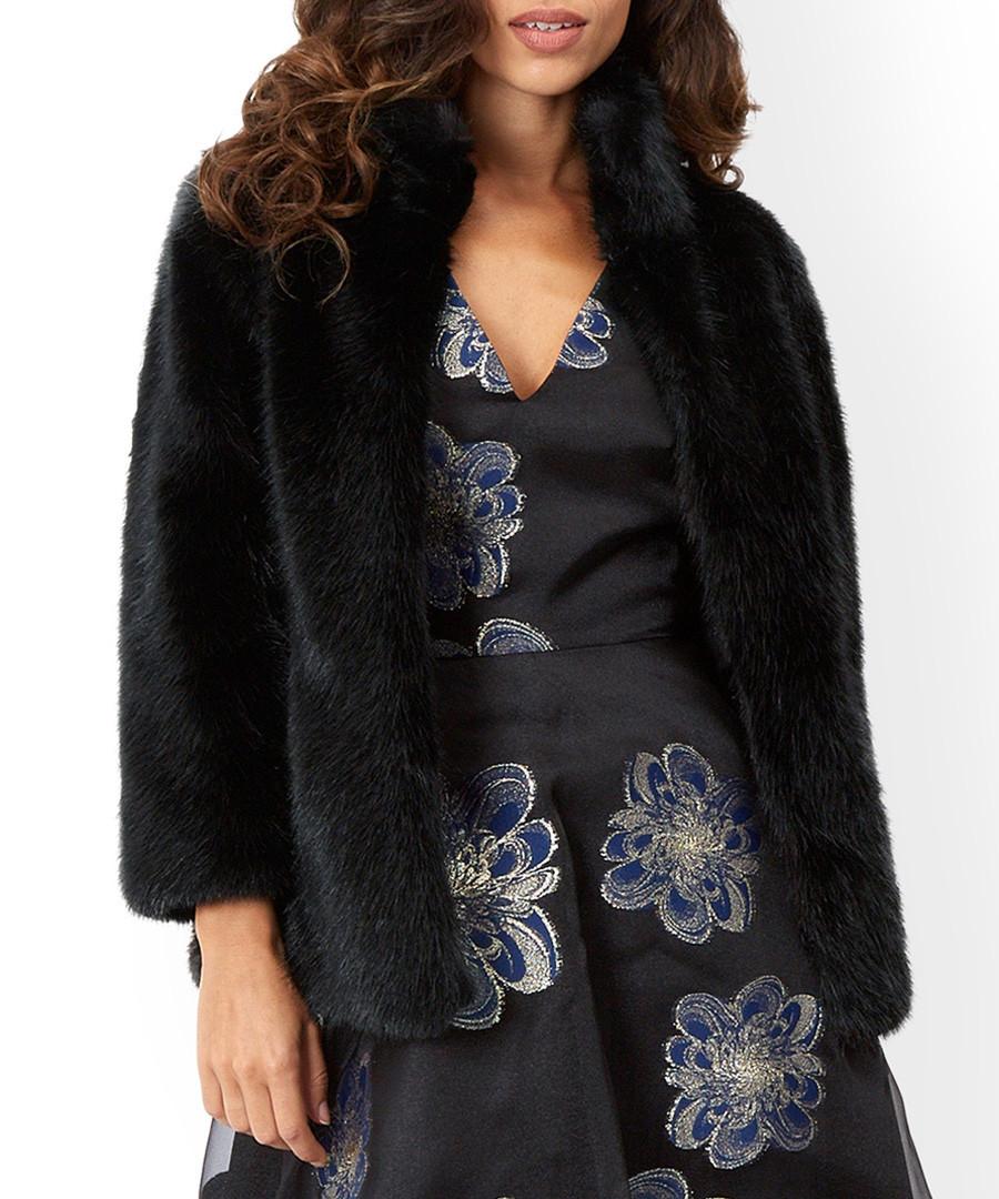 Anastasia black faux fur coat Sale - monsoon
