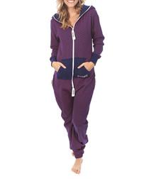 Two-tone zip-up hooded onesie