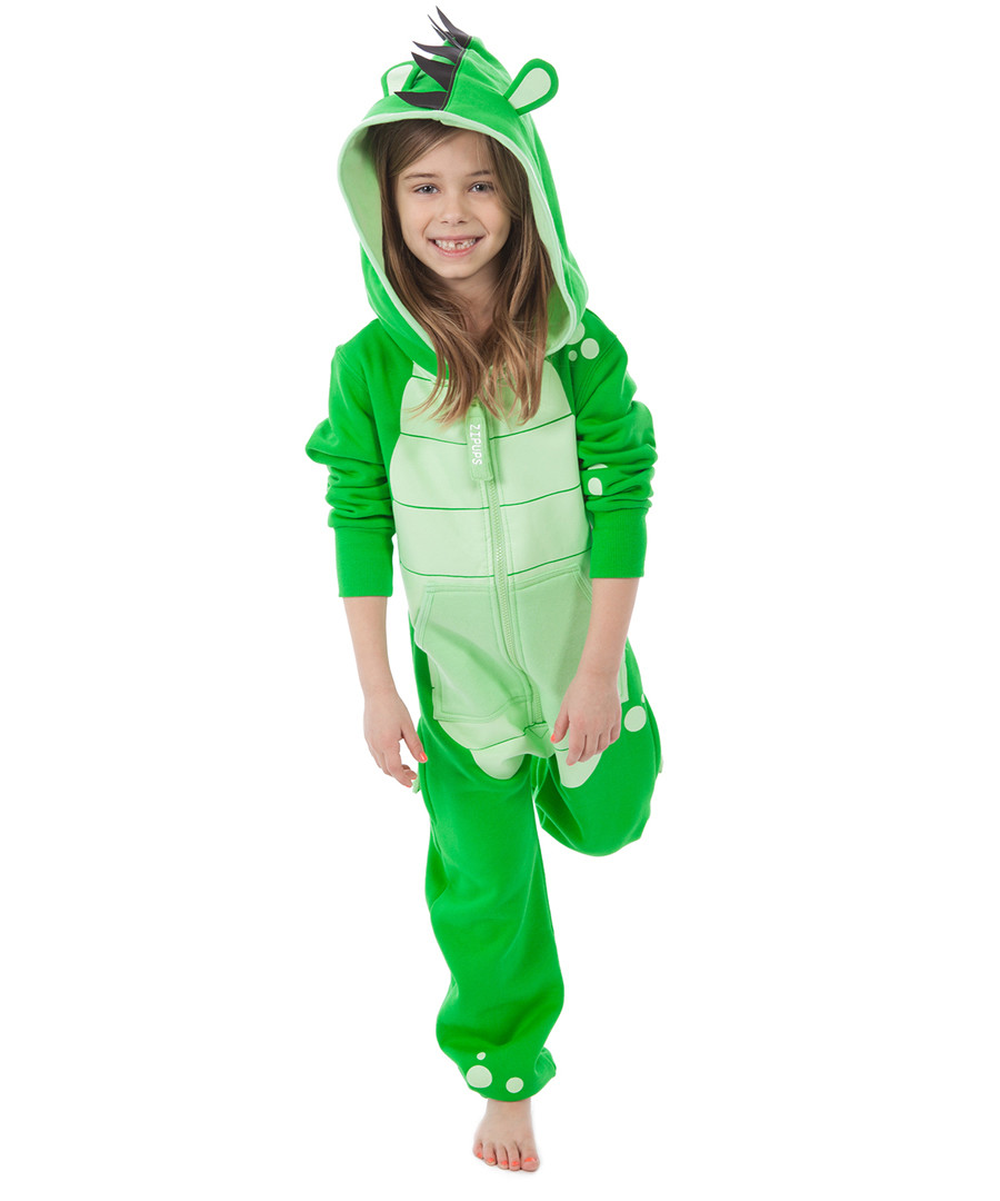 Kids green zip-up animal hooded onesie Sale - ZIPUPS