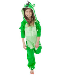 Kids green zip-up animal hooded onesie