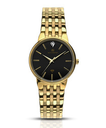 Gold & silver-tone steel square watch
