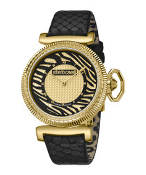 Gold-tone & black calf leather watch