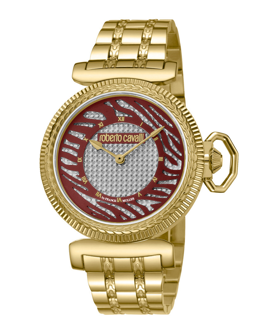 Gold-tone stainless steel link watch Sale - roberto cavalli by franck muller