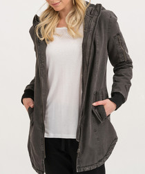 Anthracite pure cotton zip-up jacket