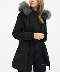 Black cotton faux fur hooded coat