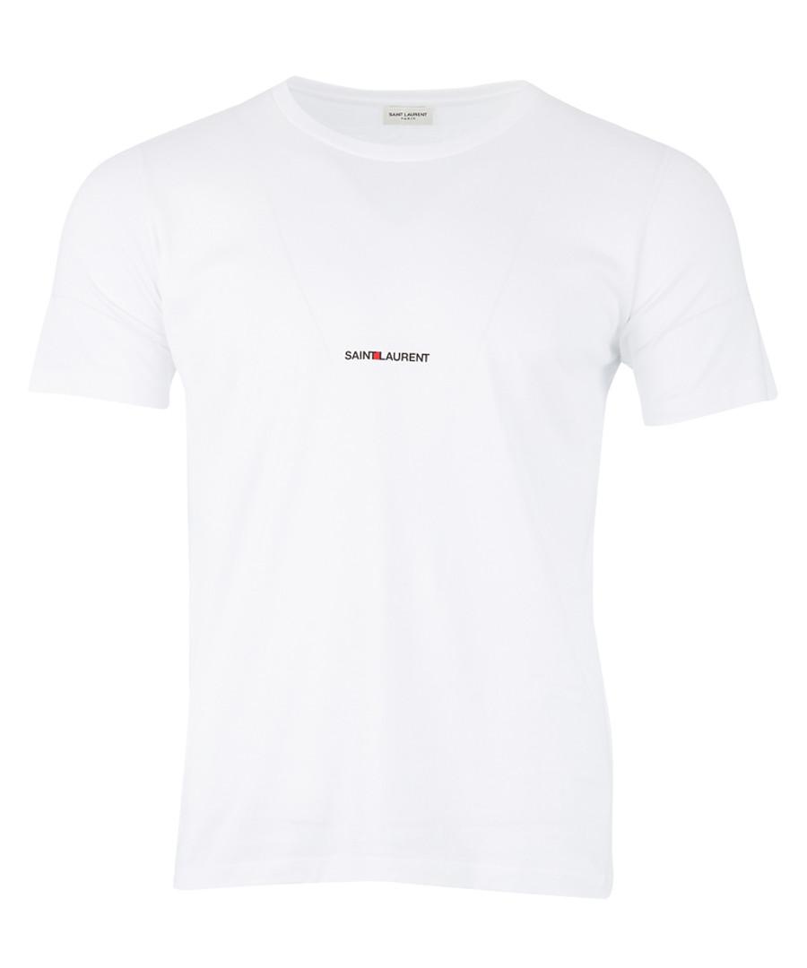 White pure cotton logo T-shirt Sale - saint laurent