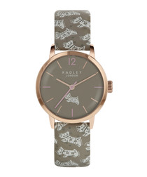 Folk Dog grey leather & steel watch