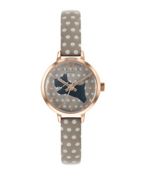 Khaki leather spotted dog motif watch