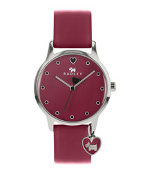 Cerise leather dog motif charm watch