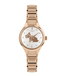 Gold-tone stainless steel dog link watch