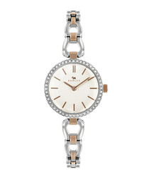 Silver rose gold-tone stainless steel watch