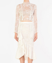 White sheer lace high-neck top
