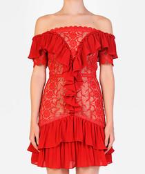 Red ruffle off-the-shoulder mini dress