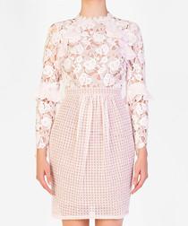 Light pink floral mesh dress