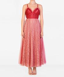 Raspberry pleated strappy maxi dress