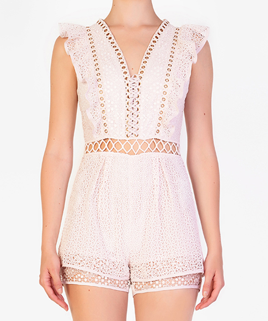 Light pink sleeveless cut-out playsuit Sale - true decadence
