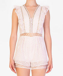 Light pink sleeveless cut-out playsuit