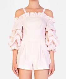 Light pink cold-shoulder ruffle playsuit