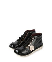 Kids' Kick black leather lace-up boots