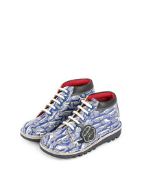 Kids' blue leather lace-up boots