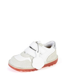 Kids' Glow white leather sneakers