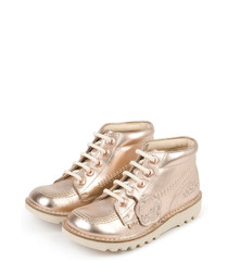 Kids' rose gold leather lace-up boots