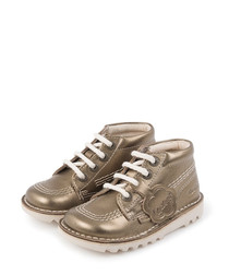 Kids' bronze leather lace-up boots