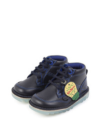 Kids' navy leather lace-up boots