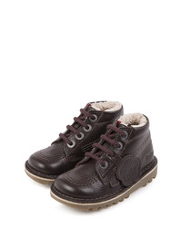 Kids' brown leather lace-up boots