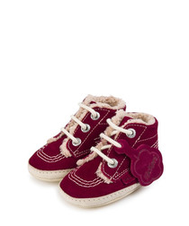 Kids' burgundy suede lace-up boots
