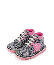 Kids' navy & pink leather lace-up boots