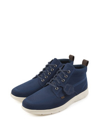 Blue leather lace-up sneakers