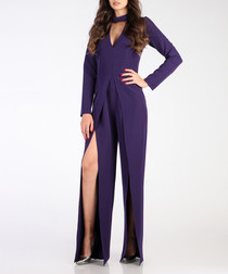Violet long sleeve slit jumpsuit