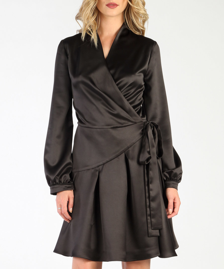 Black long sleeve wrap dress Sale - CARLA BY ROZARANCIO