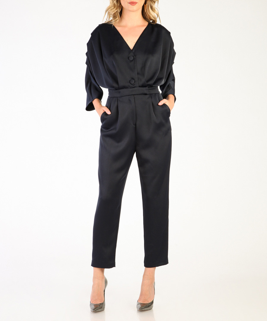 Dark blue V-neck jumpsuit Sale - CARLA BY ROZARANCIO