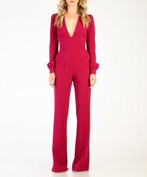 Purple plunge long sleeve jumpsuit